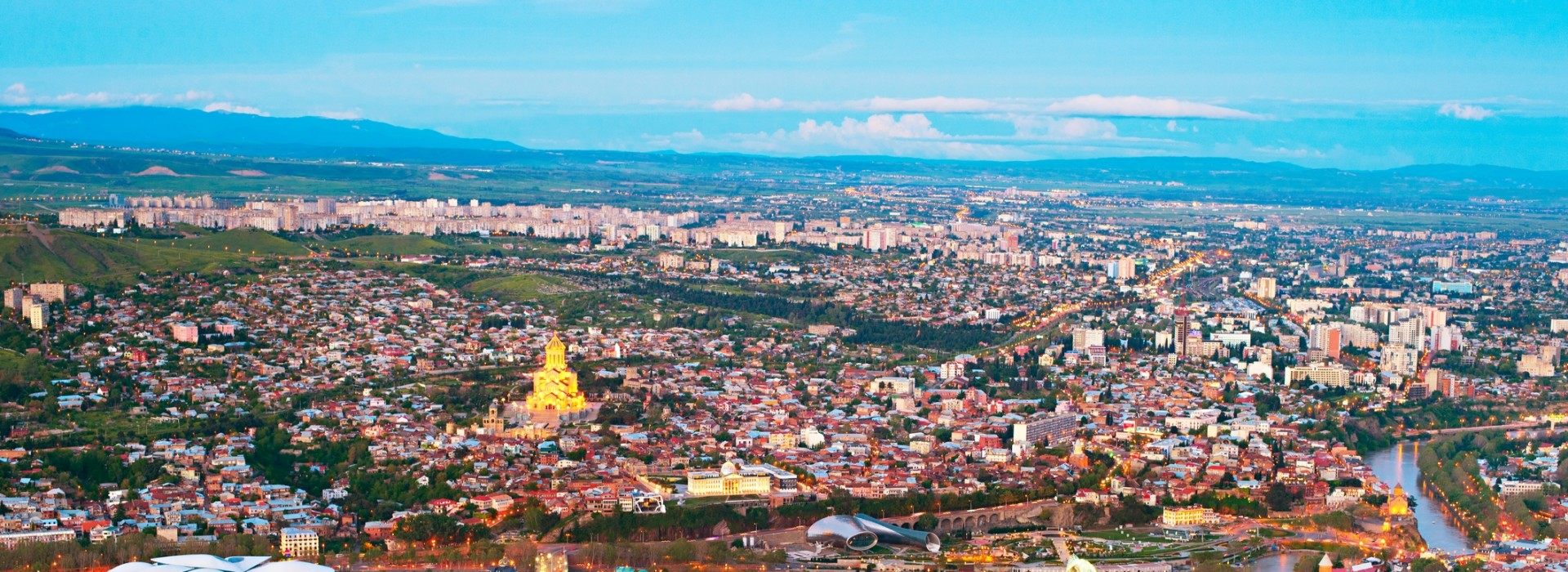 Aerial view of Tbilisi city