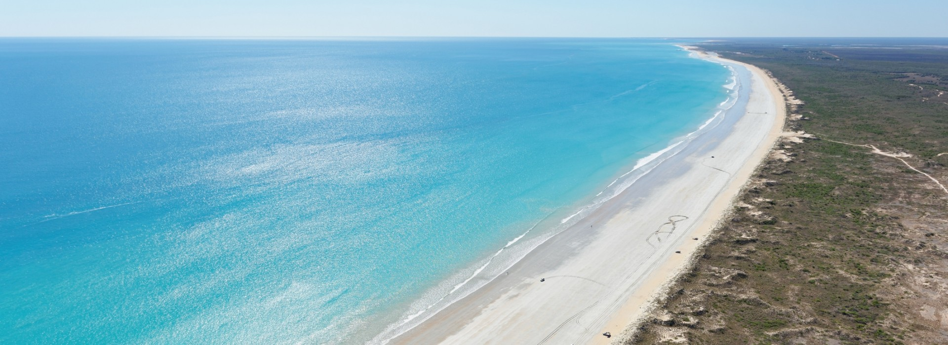 The 22 kilometer long stretch of Cable Beach in Broome has white, translucent sand.