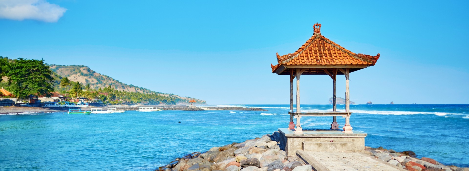 A traditional Indonesian lookout on the shores of Candidasa.