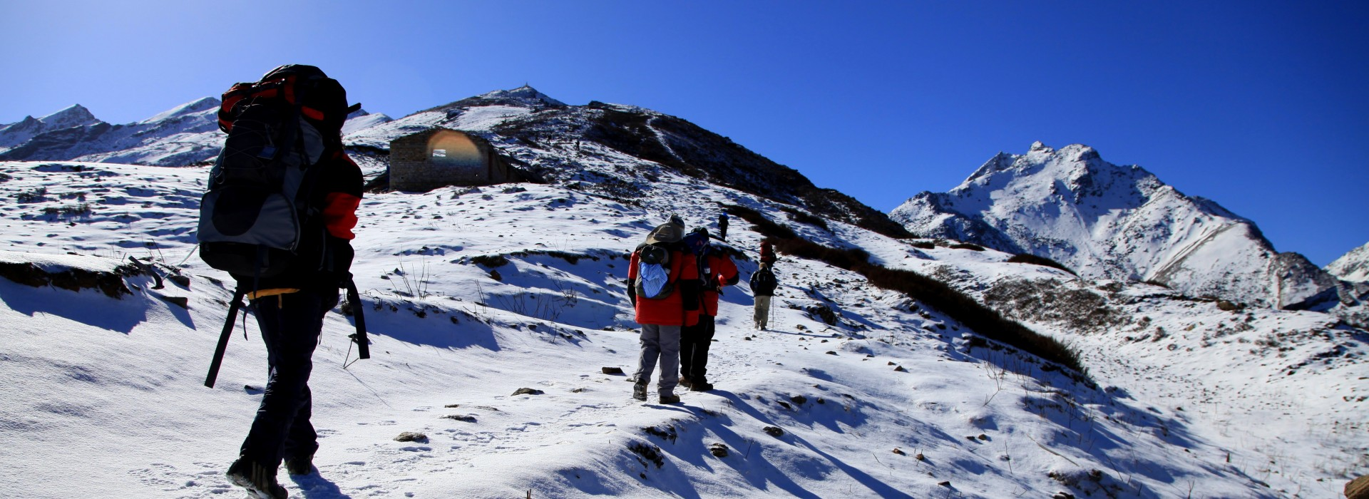 A group of trekkers doing the Langtang Trek