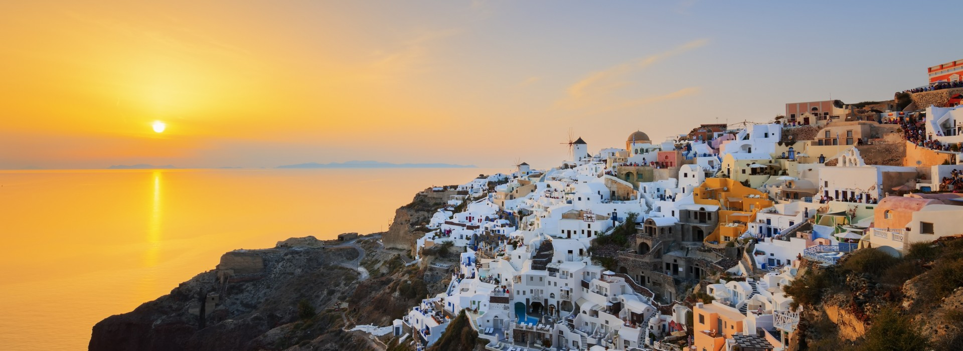 Panoramic view of Oia, the most famous of all villages of Santorini