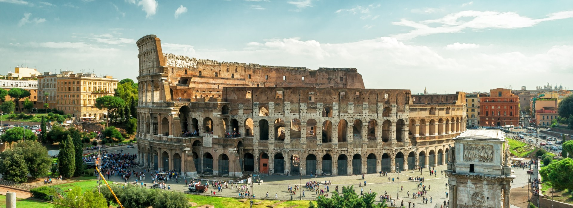 Panoramic view of the Colosseum in Rome