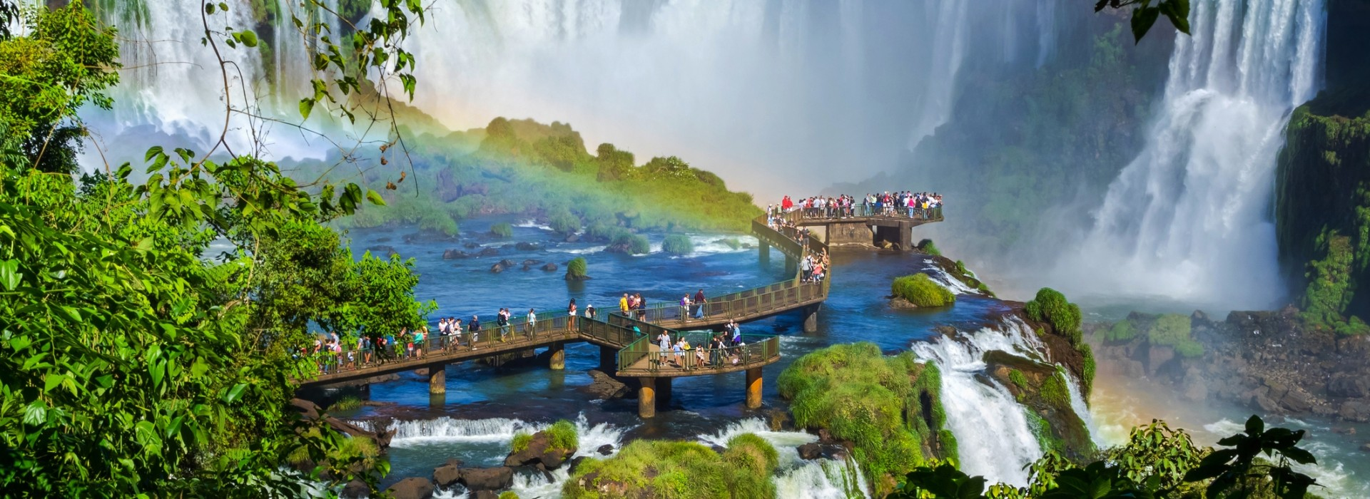 Tourists at the Iguazu Falls in Foz do Iguacu, Brazil