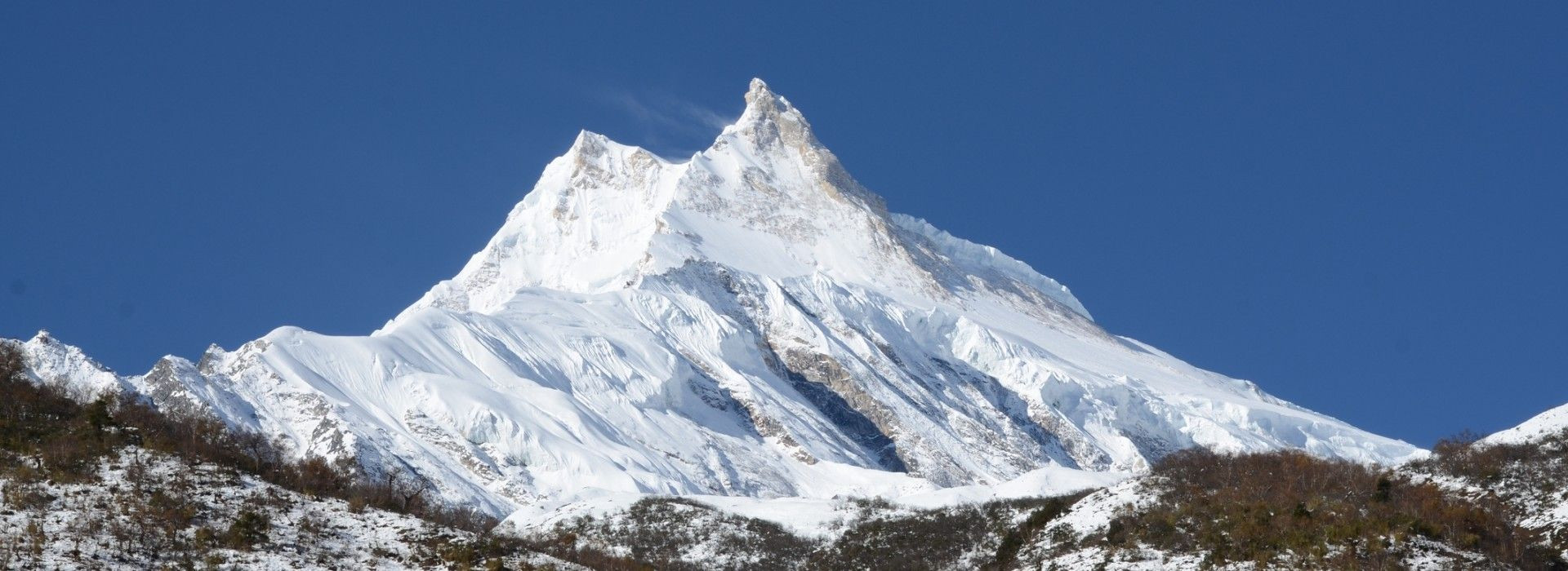 A view of Mount Manaslu and the Manaslu Trek