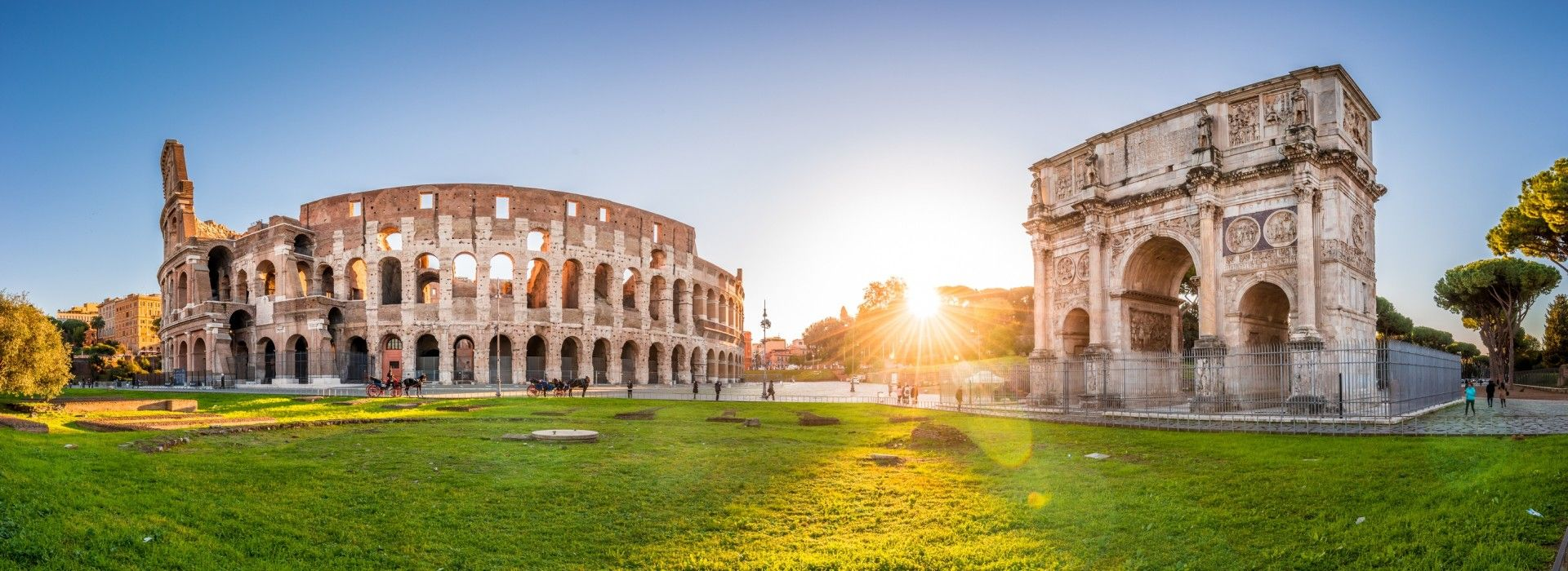 Panoramic view of the Colosseum and Arch of Constantine, Rome