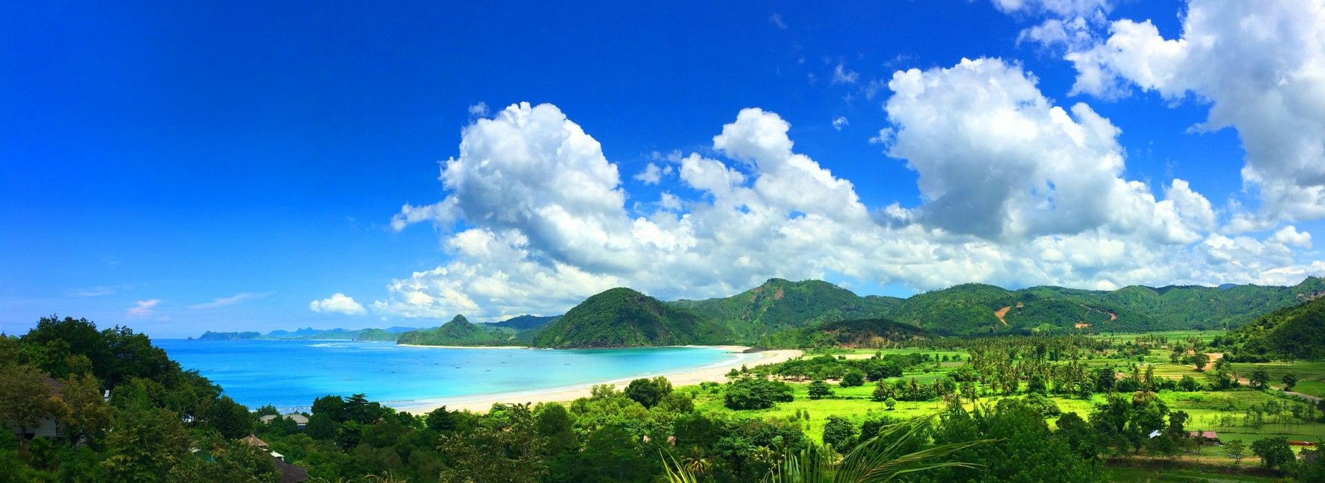 View of beach and lush jungle in Lombok Indonesia