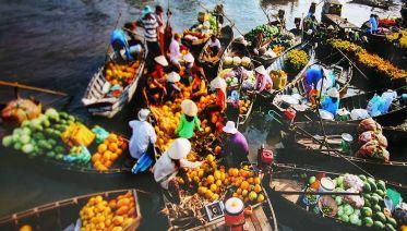 Cai Be Floating Market and Tan Phong Island