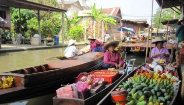 Damnoen Saduak Floating Market + River Kwai Bridge