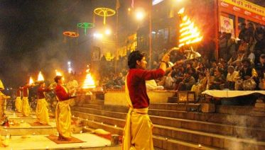 Ritual ceremony with indian dishes