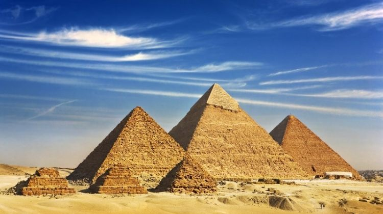 Family Egyptian Sphinx, Pyramids and Nile River