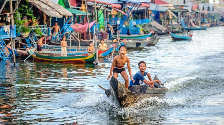Floating Village of Kampong Phluk on Tonle Sap Lake