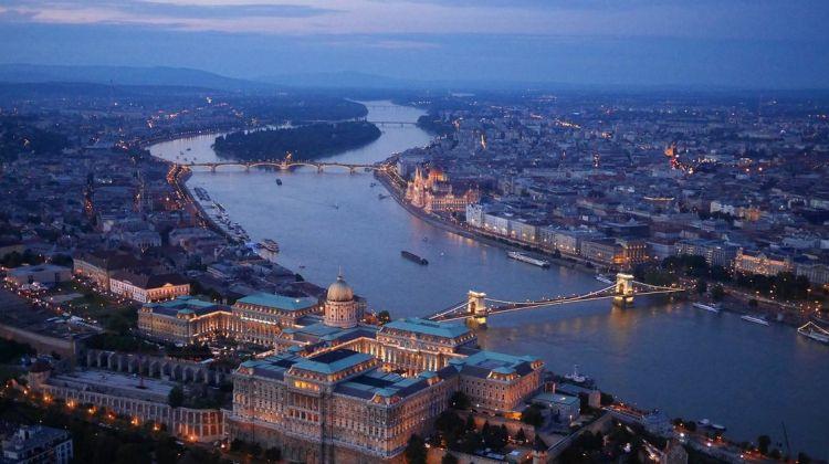 Night Time Flight Over Budapest