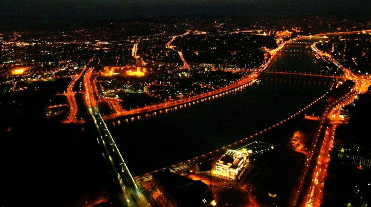 Night Time Flight Over Budapest