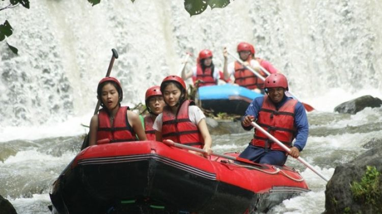 White water rafting at telaga waja river